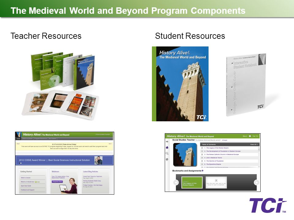 The Medieval World and Beyond Program Components