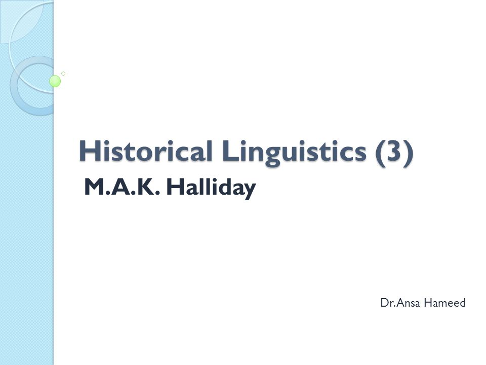 Historical Linguistics (3)