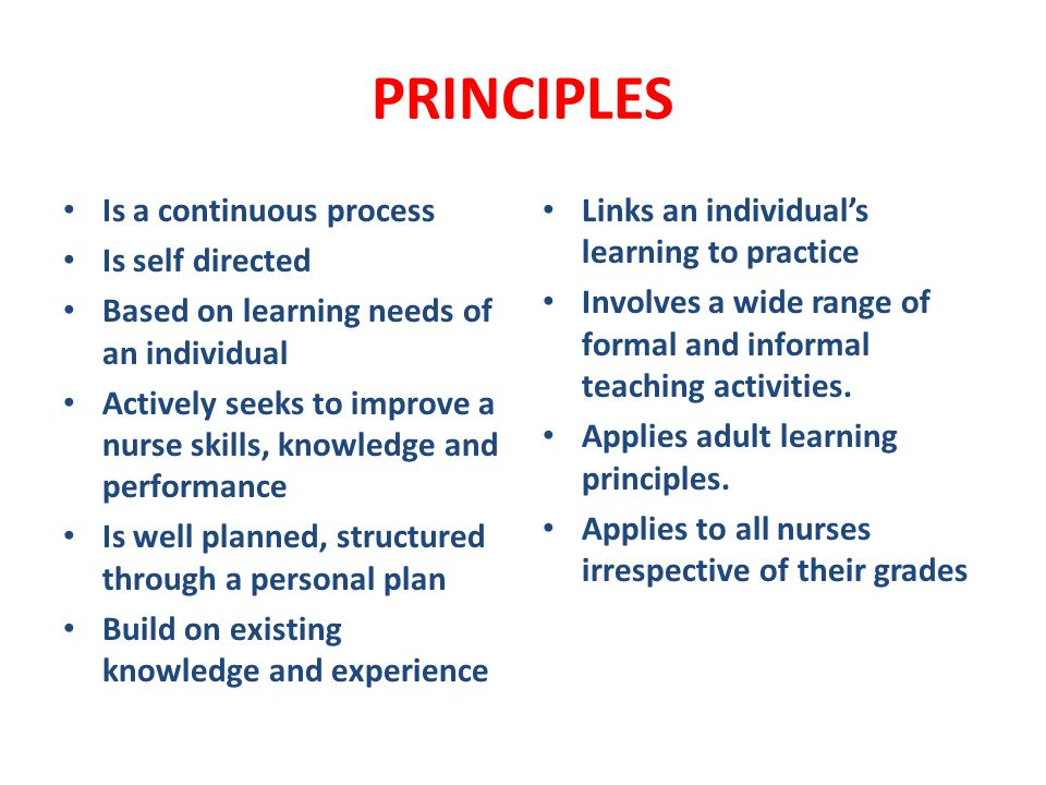 PRINCIPLES Is a continuous process Is self directed