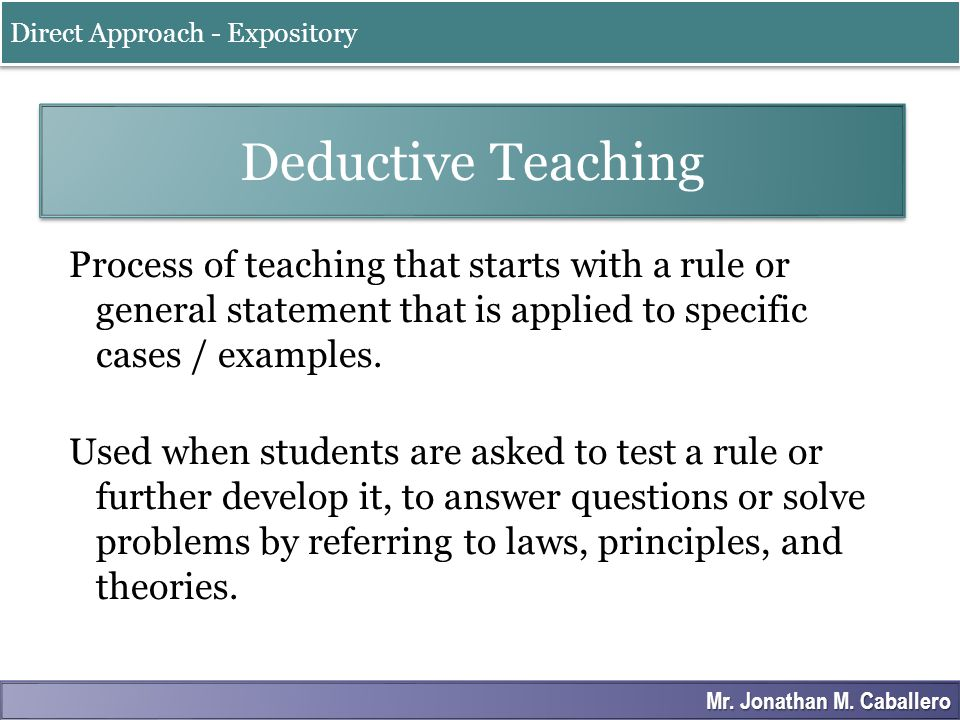 Direct Approach - Expository