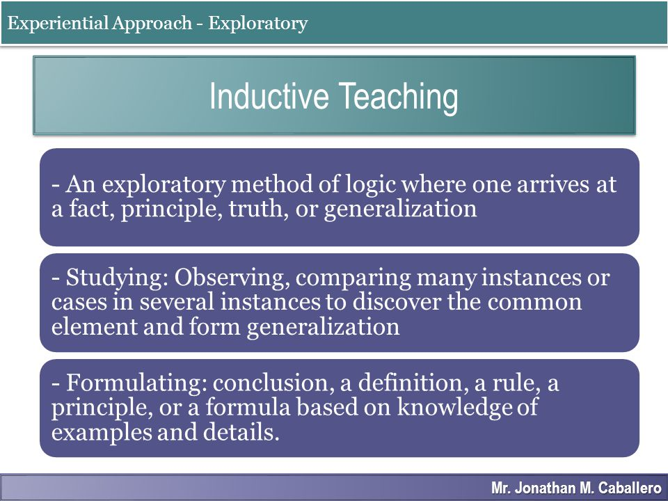 Inductive Teaching Experiential Approach - Exploratory