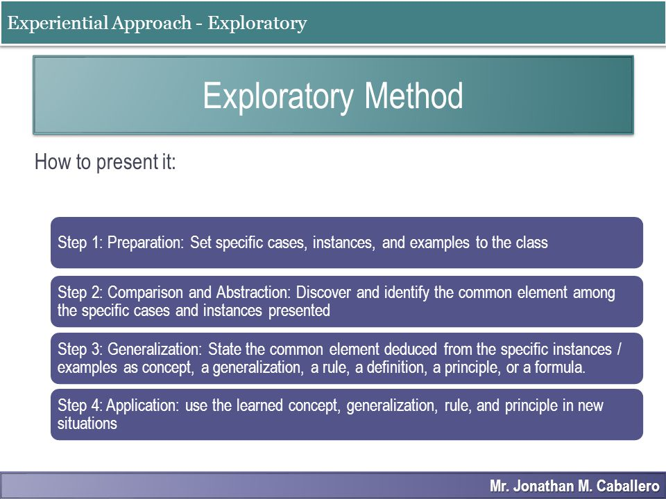 How to use Exploratory Method
