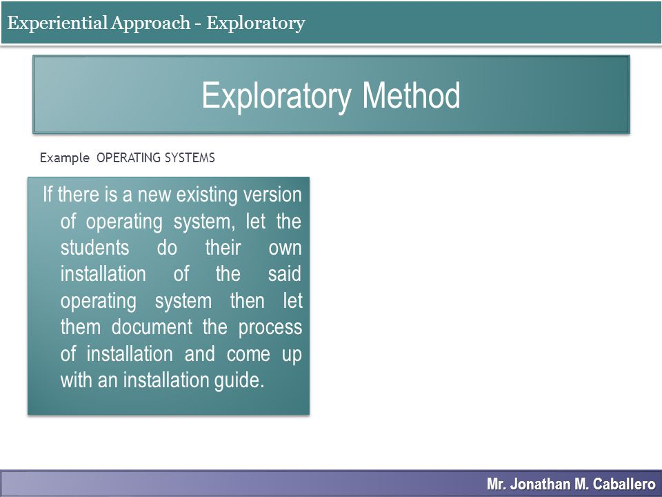Example OPERATING SYSTEMS