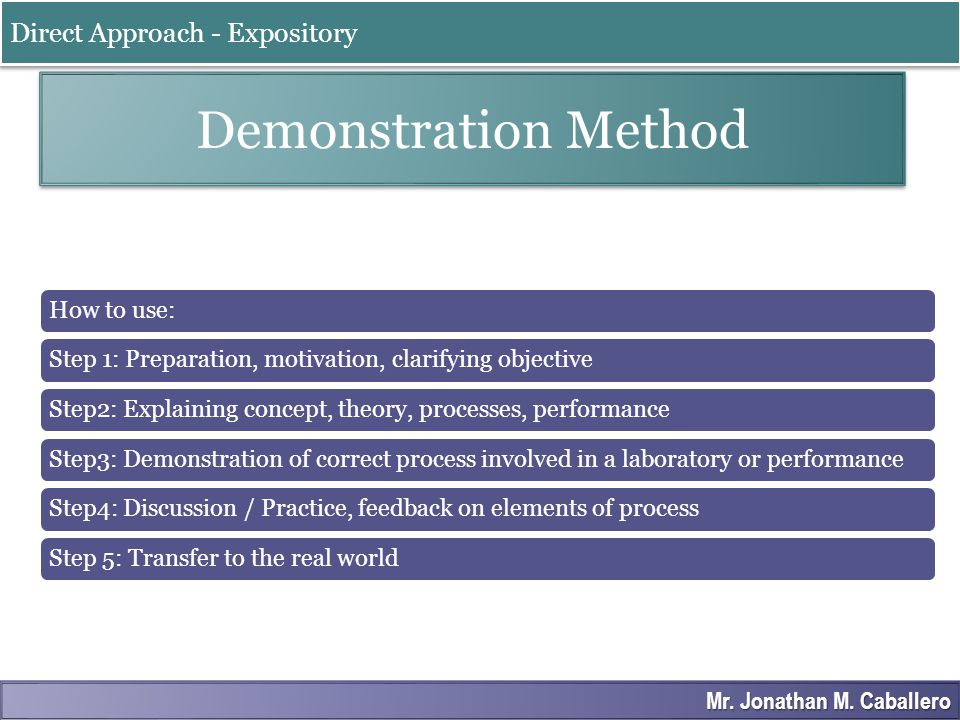 Demonstration Method Direct Approach - Expository
