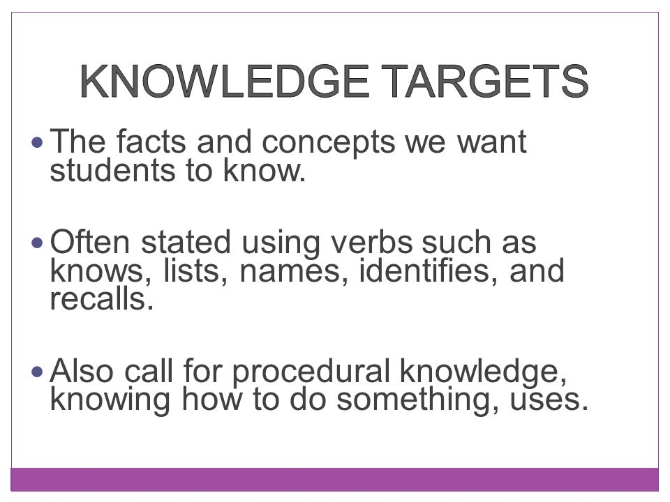 Knowledge Targets The facts and concepts we want students to know.
