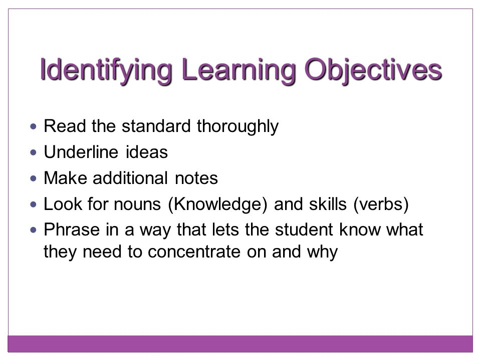 Identifying Learning Objectives