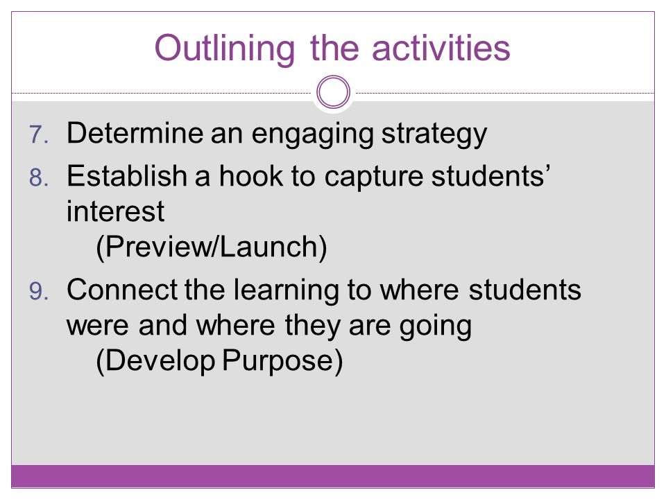 Outlining the activities