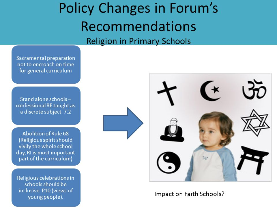 Policy Changes in Forum's Recommendations Religion in Primary Schools