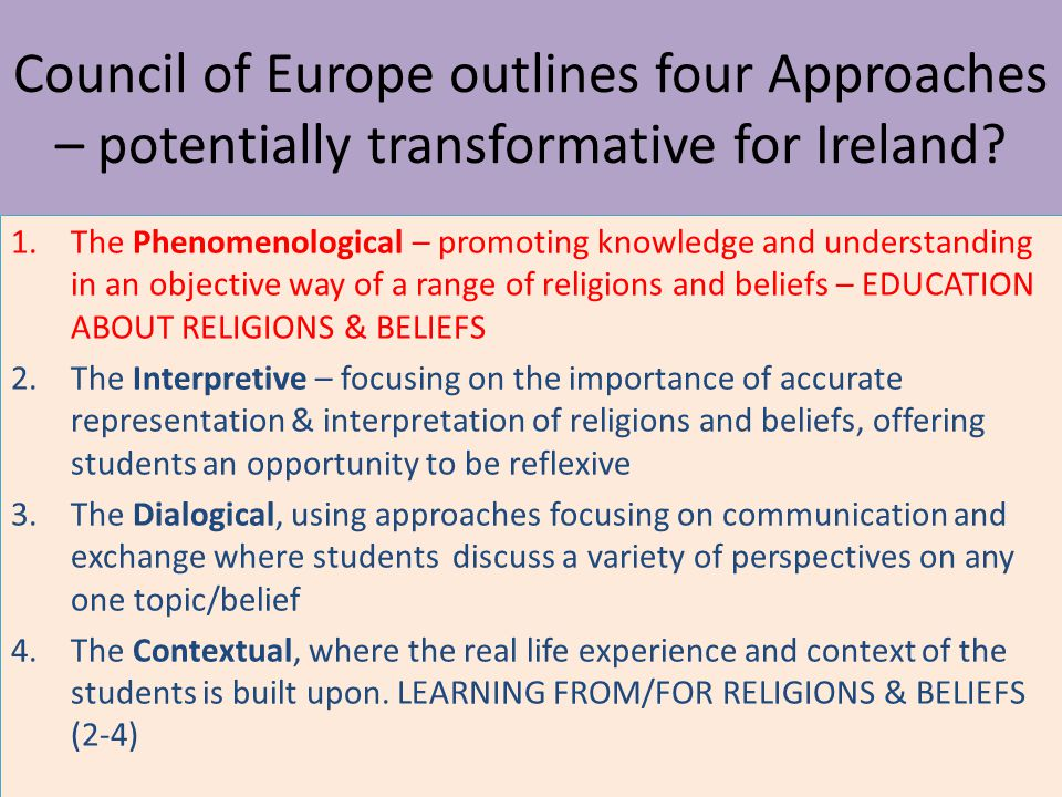 Council of Europe outlines four Approaches – potentially transformative for Ireland