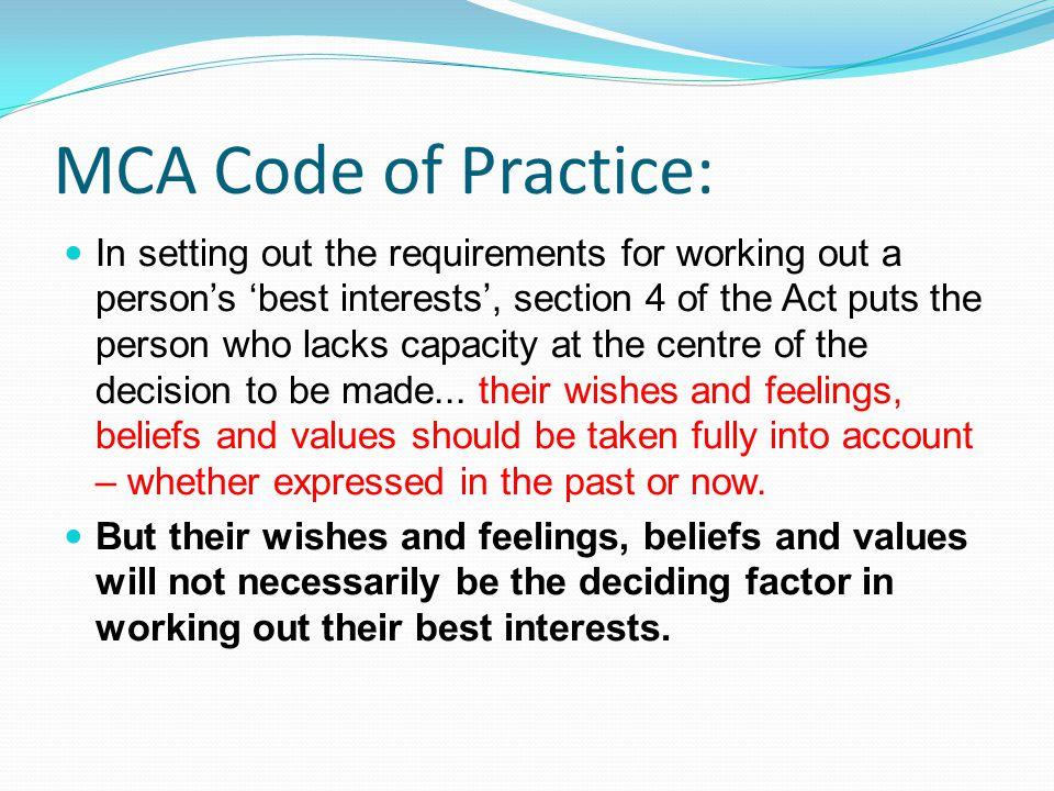 MCA Code of Practice: