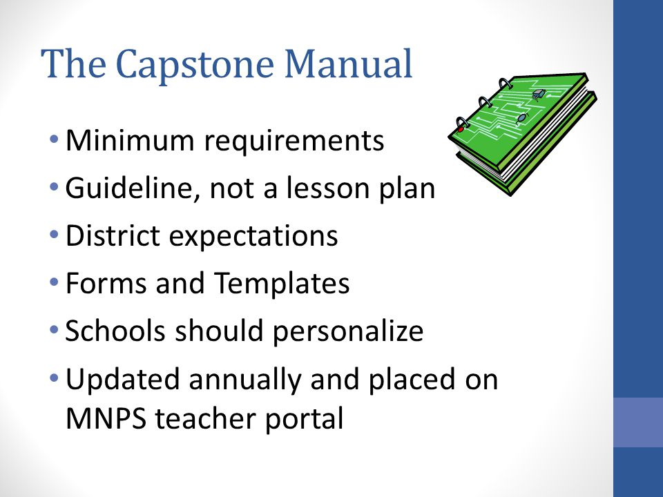 The Capstone Manual Minimum requirements Guideline, not a lesson plan