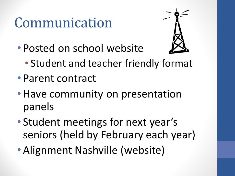 Communication Posted on school website Parent contract