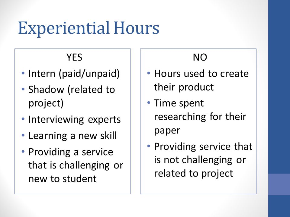 Experiential Hours YES Intern (paid/unpaid)
