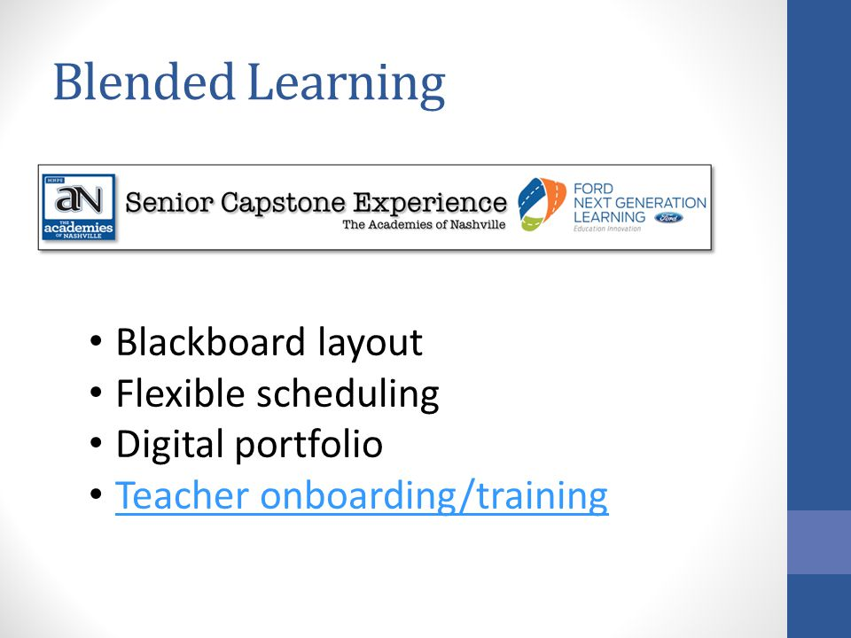Blended Learning Blackboard layout Flexible scheduling
