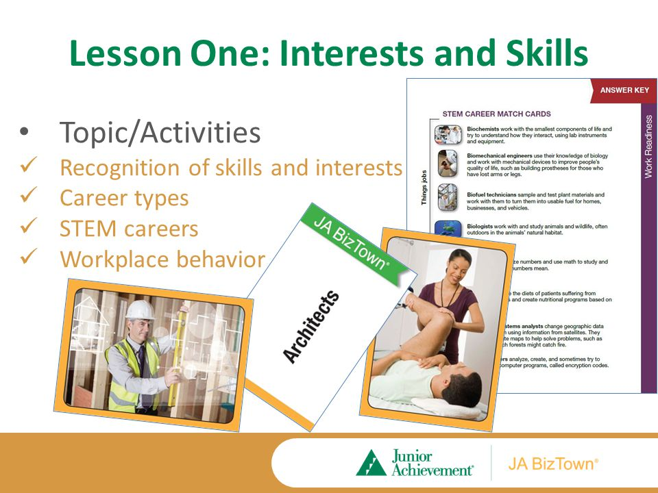 Lesson One Application Activities Extension Activities Career Types