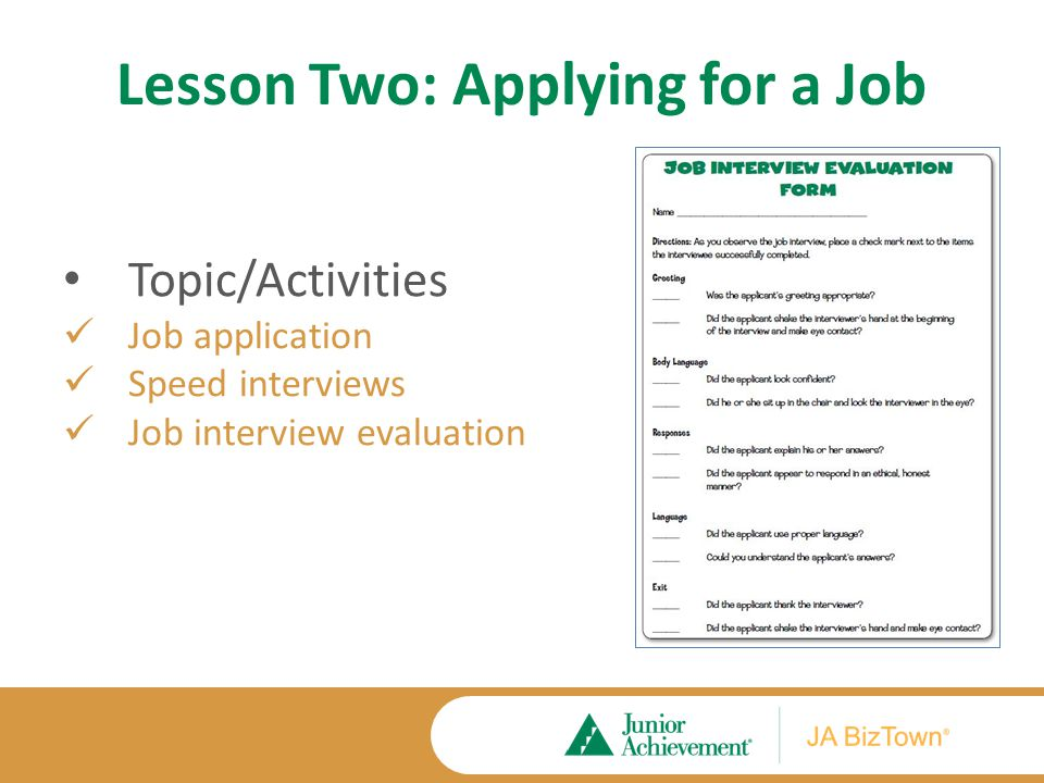 Lesson Two Application Activities Extension Activities Job Interviews