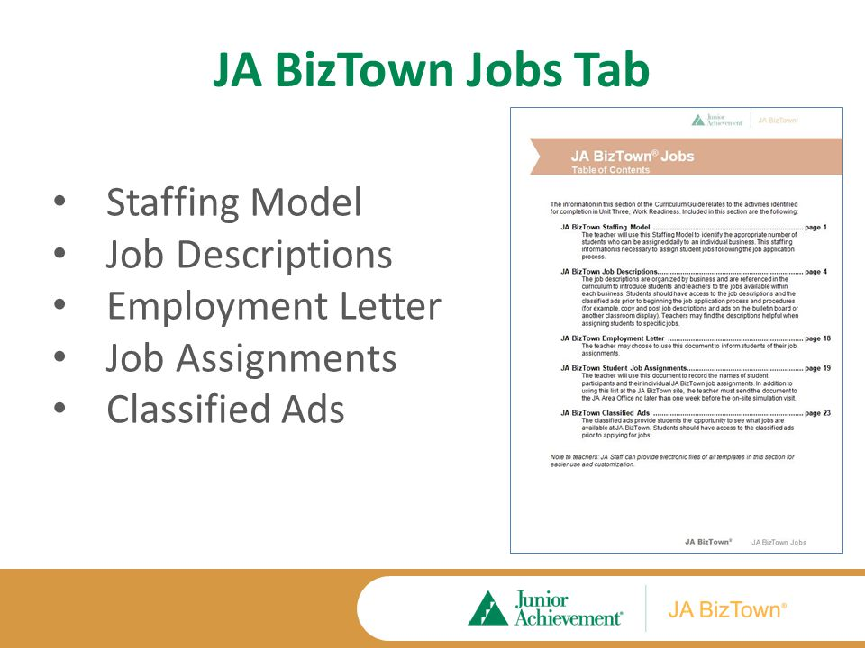 JA BizTown Staffing Model