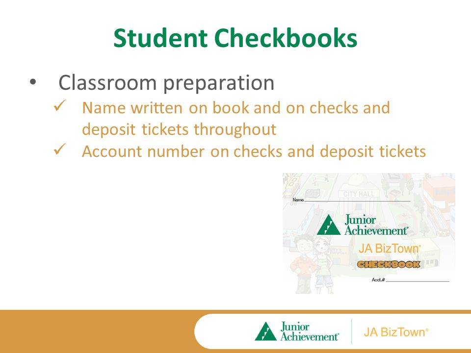 Student Checkbooks Ready for first visit to the bank