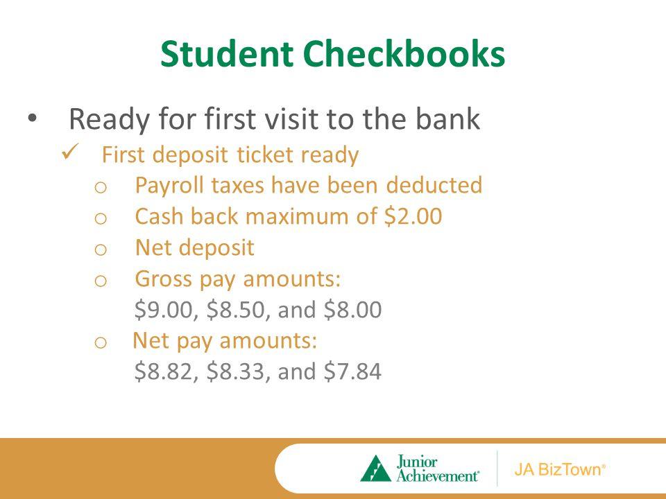 Student Checkbooks Deposit Ticket Caleb Lents Caleb Lents 127