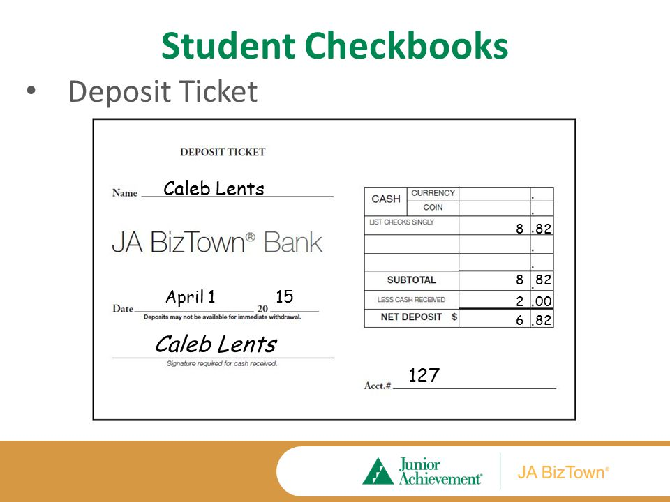 Student Checkbooks First check and register transactions