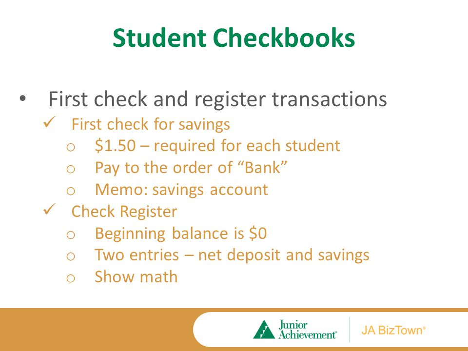 Student Checkbooks Check Register 4/1 Deposit 1 8 82 + 8 82 8 82