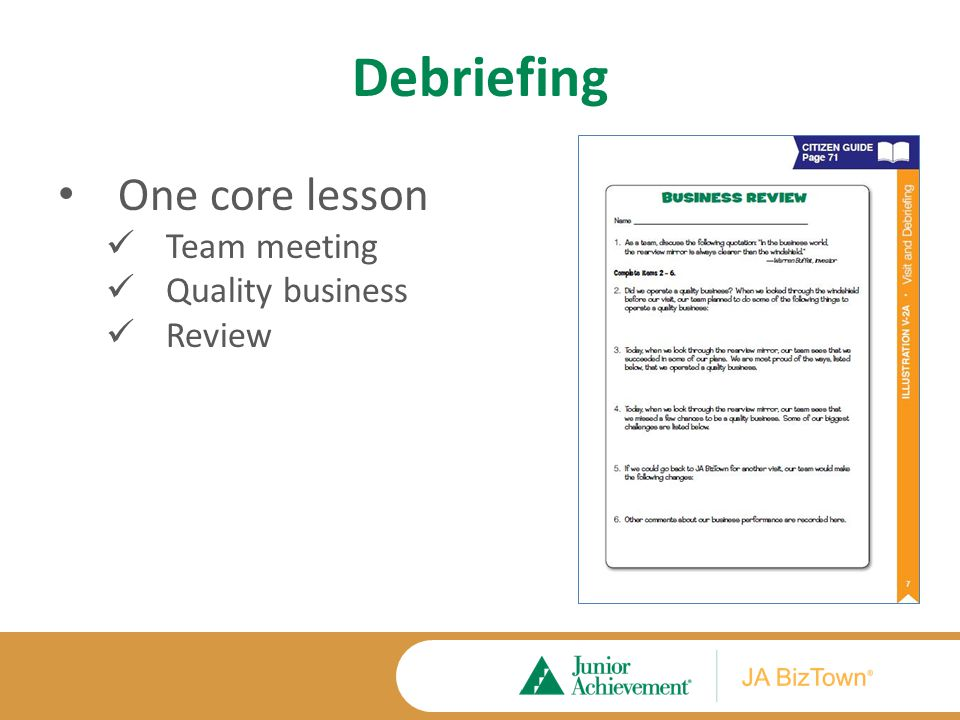 Debriefing Application Activities Extension Activities