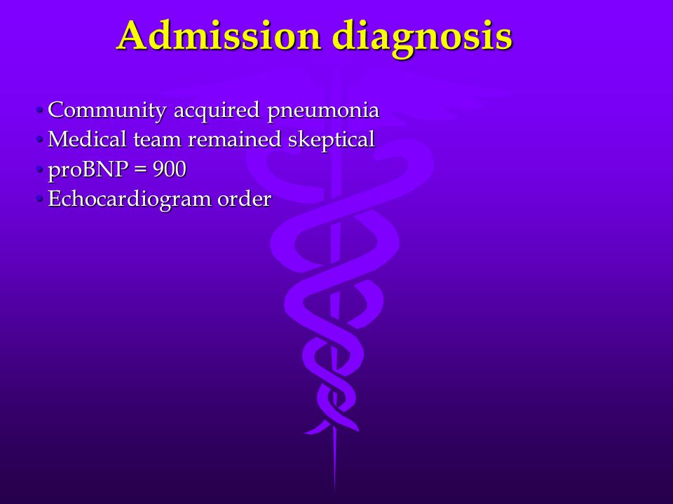 Admission diagnosis Community acquired pneumonia