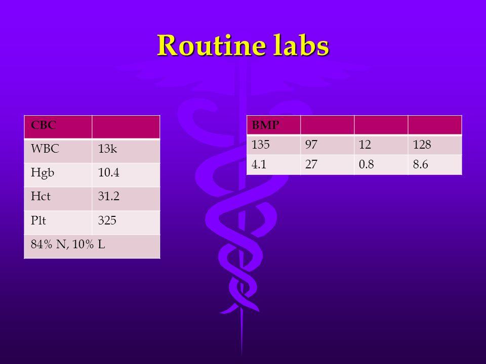 Routine labs CBC WBC 13k Hgb 10.4 Hct 31.2 Plt 325 84% N, 10% L BMP
