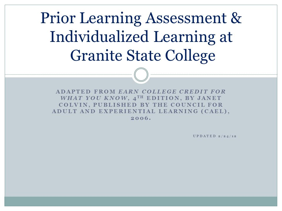 Prior Learning Assessment & Individualized Learning at Granite State College