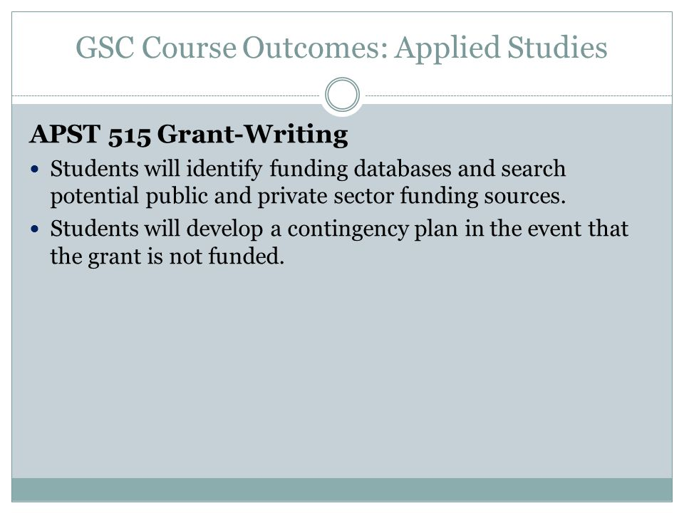 GSC Course Outcomes: Applied Studies