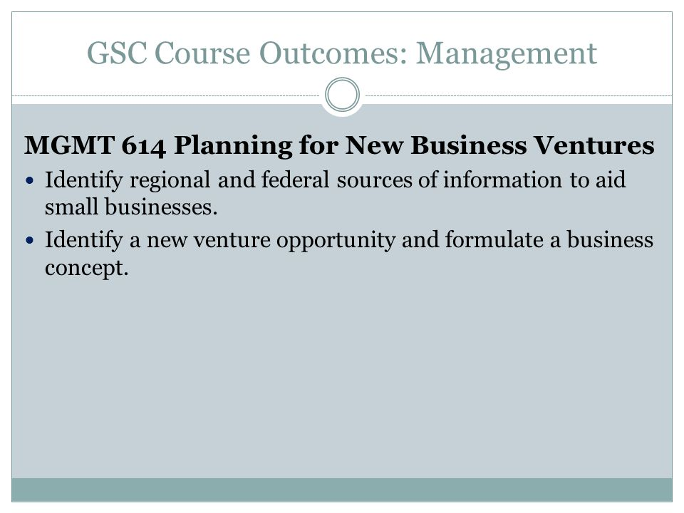 GSC Course Outcomes: Management