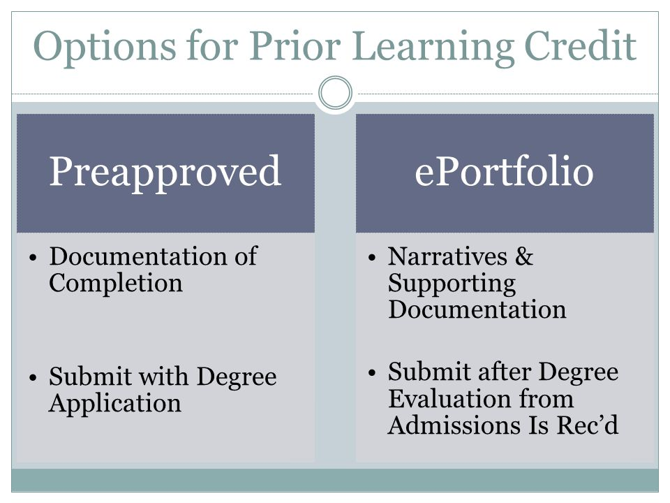 Options for Prior Learning Credit