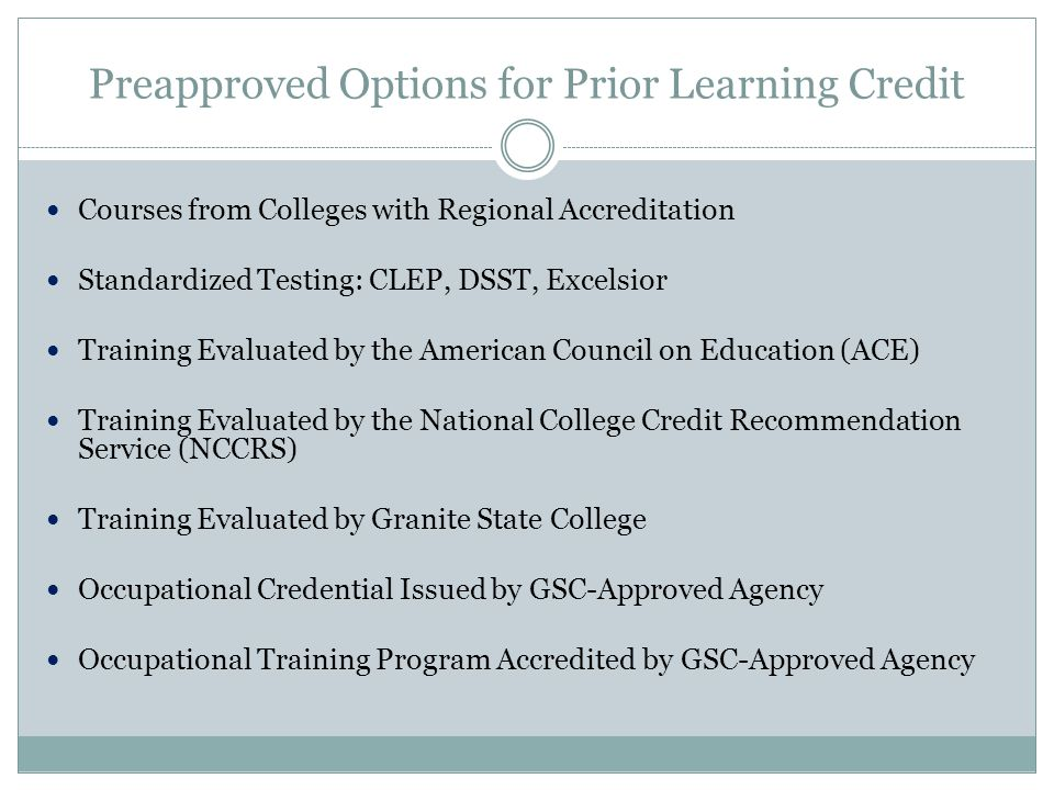 Preapproved Options for Prior Learning Credit