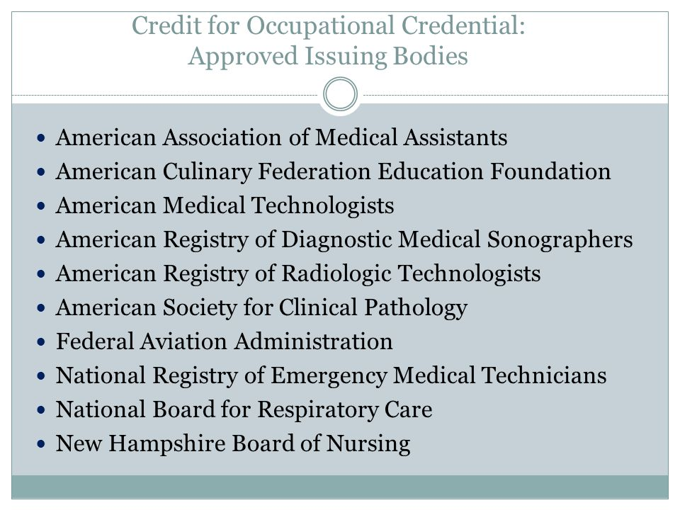 Credit for Occupational Credential: Approved Issuing Bodies