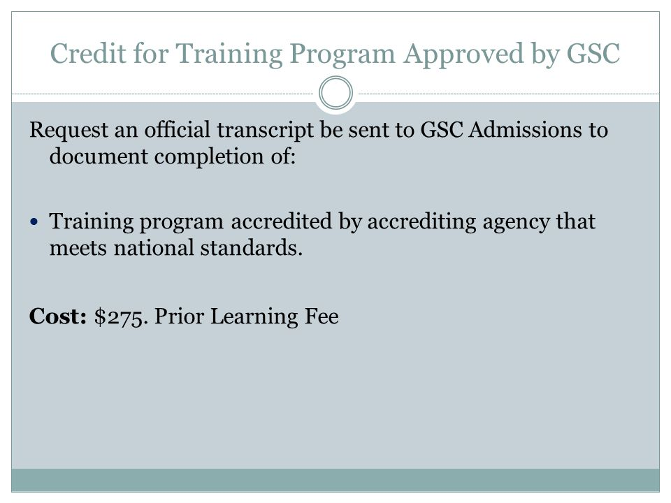 Credit for Training Program Approved by GSC