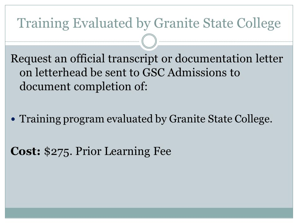 Training Evaluated by Granite State College
