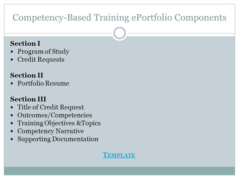 Competency-Based Training ePortfolio Components