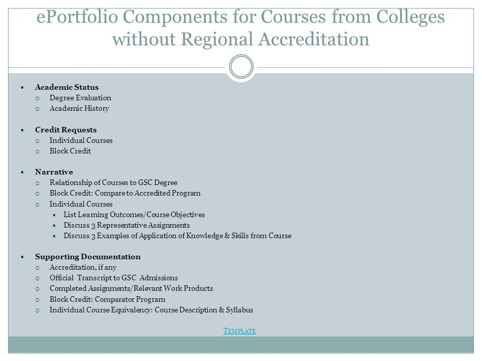 ePortfolio Components for Courses from Colleges without Regional Accreditation