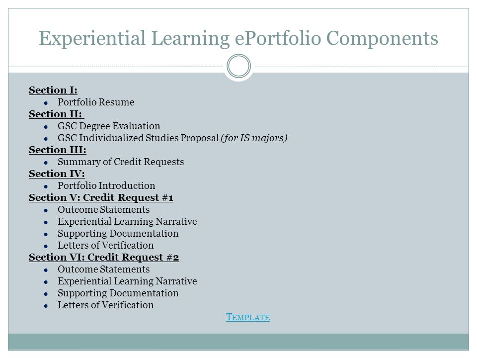 Experiential Learning ePortfolio Components