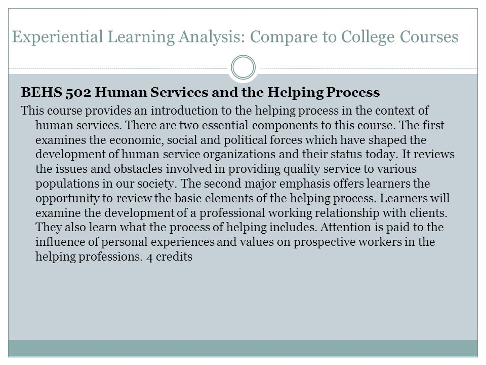 Experiential Learning Analysis: Compare to College Courses