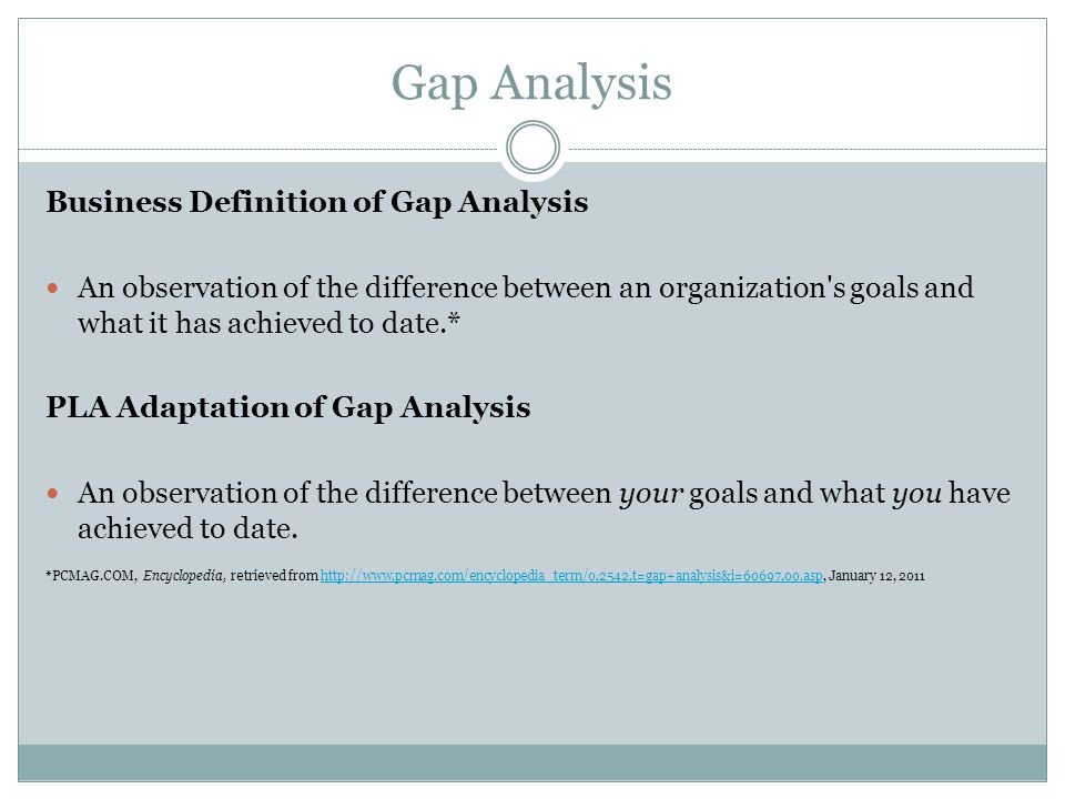 Gap Analysis Business Definition of Gap Analysis