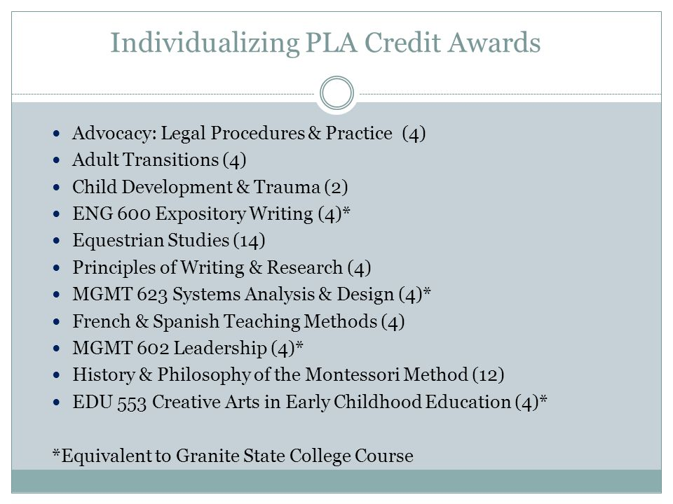 Individualizing PLA Credit Awards