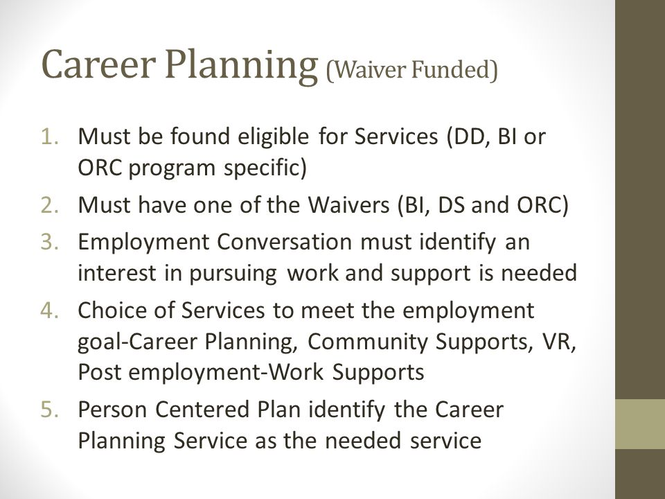 Career Planning (Waiver Funded)