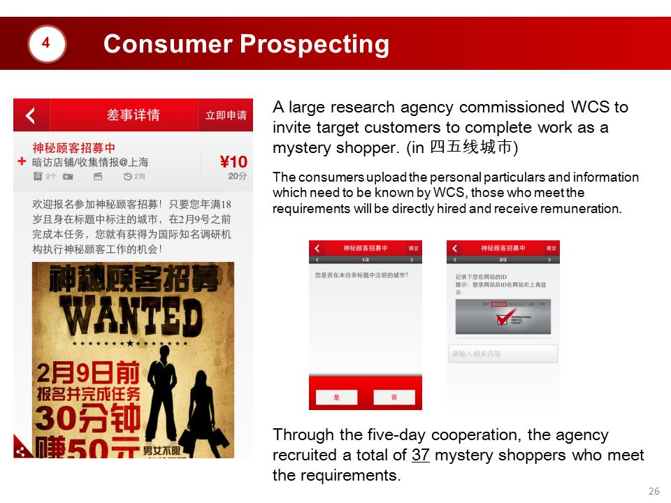 Consumer Prospecting 4. A large research agency commissioned WCS to invite target customers to complete work as a mystery shopper. (in 四五线城市)