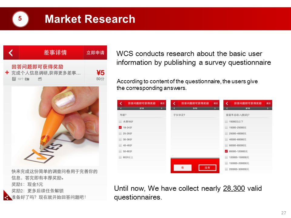 Market Research 5. WCS conducts research about the basic user information by publishing a survey questionnaire.