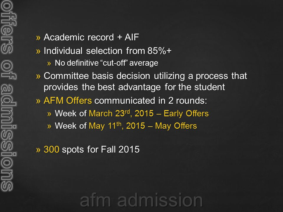 offers of admissions afm admission Academic record + AIF