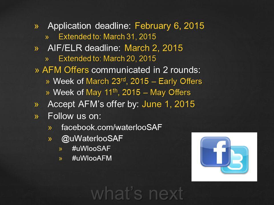 what's next Application deadline: February 6, 2015