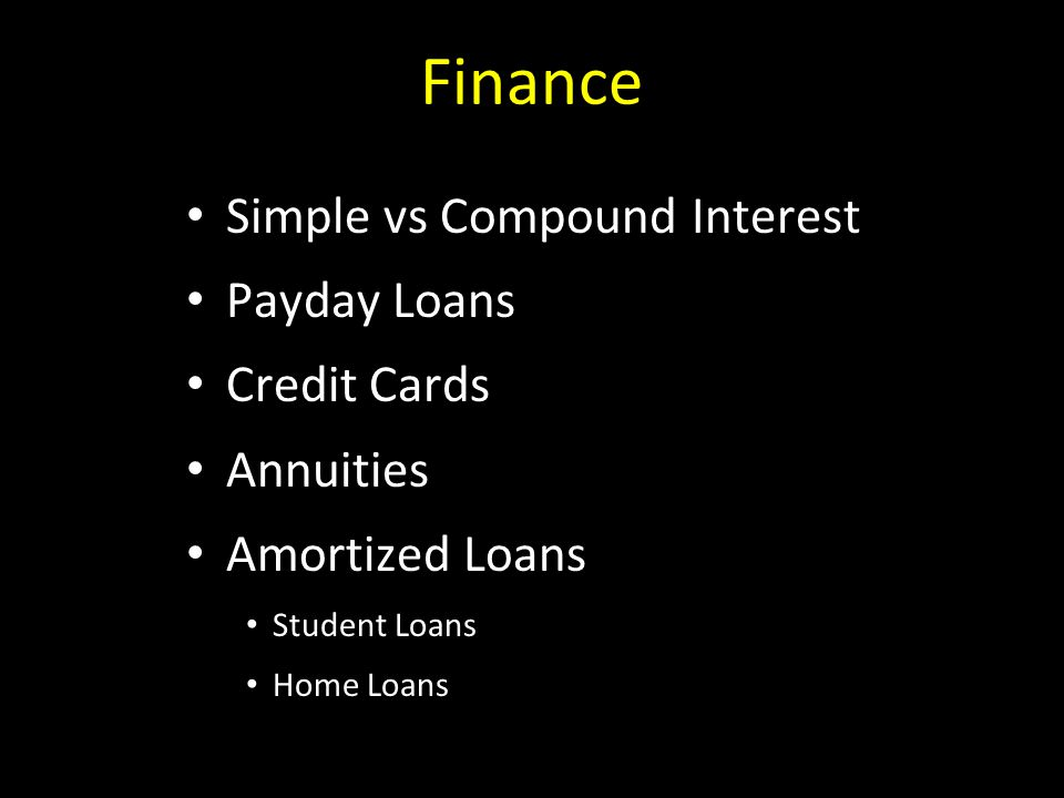 Finance Simple vs Compound Interest Payday Loans Credit Cards