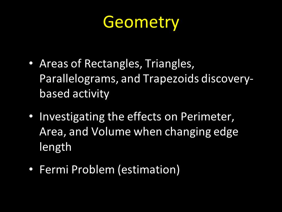 Geometry Areas of Rectangles, Triangles, Parallelograms, and Trapezoids discovery- based activity.