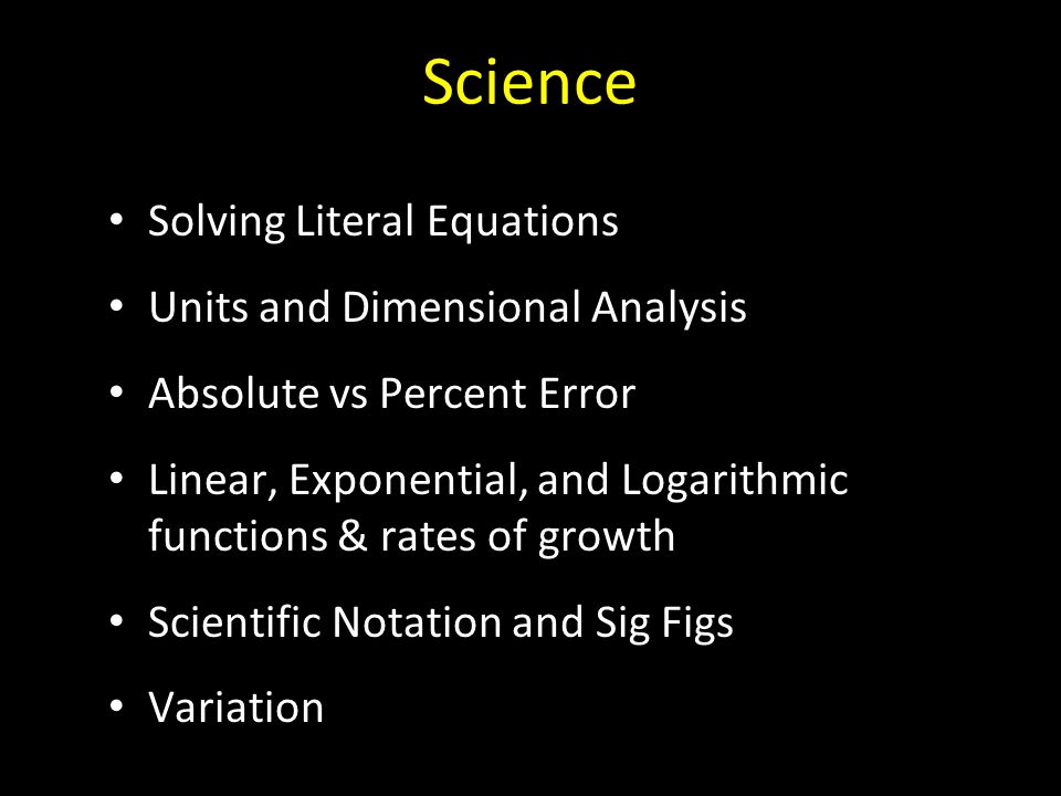 Science Solving Literal Equations Units and Dimensional Analysis